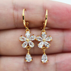 Details About 18k Yellow Gold Filled Elegant Flower White Topaz Zircon Drop Earrings Wedding