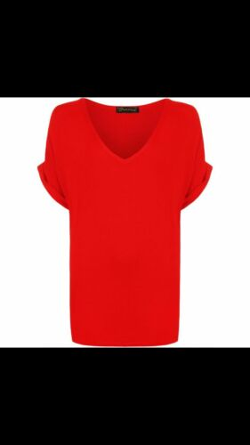 Women Oversized Baggy Loose Fit Turn up Batwing Sleeve Ladies V Neck Top T shirt