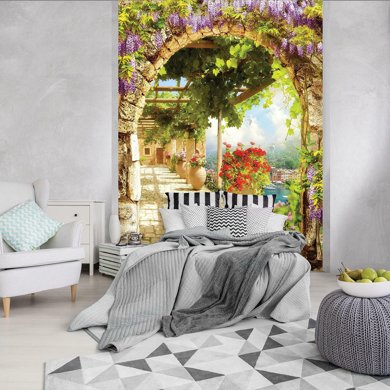Photo Wallpaper Mural Non-woven 11424_VEA Alley Alley Flowers View Natur