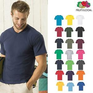 Men-Plain-Casual-V-Neck-T-shirt-Fruit-of-the-Loom-Lightweight-Cotton-tee-S-5XL
