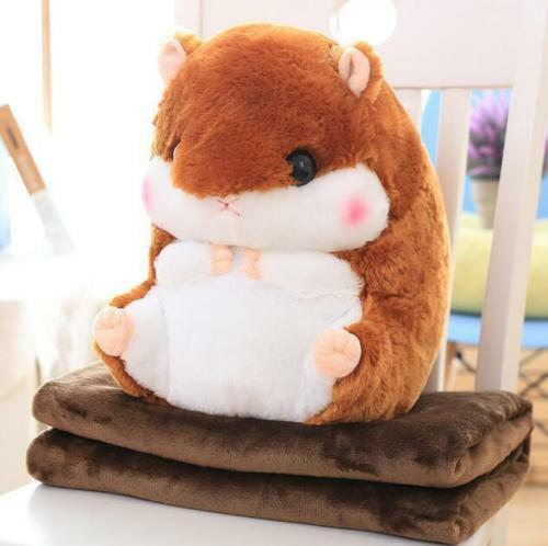 Kids Decor Animal Hamster Pillow With Fleece Blanket Toys Plush Doll Xmas Gifts