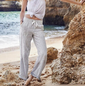 Athleta Size 10 Linen Herringbone Stripe Wide Leg Pants Drawstring White Gray