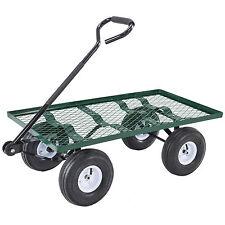 Lawn Yard Utility Garden Wagon Heavy Duty Nursery Cart Wheelbarrow Steel Trailer