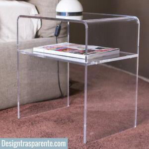 Dettagli su Comodino moderno camera da letto comodino plexiglass 40x30x45  trasparente