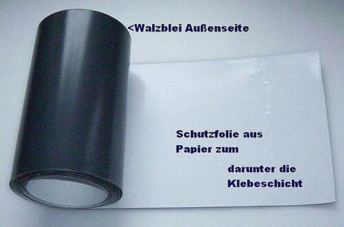 Walzblei Blei-Folie selbstklebend 100,0 x 20,0 cm x 1,0 mm Strahlenschutz grau