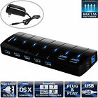 Sabrent 7 Port USB 3.0 Hub with 4A Power Adapter support Fast charging (HB-J3U7)