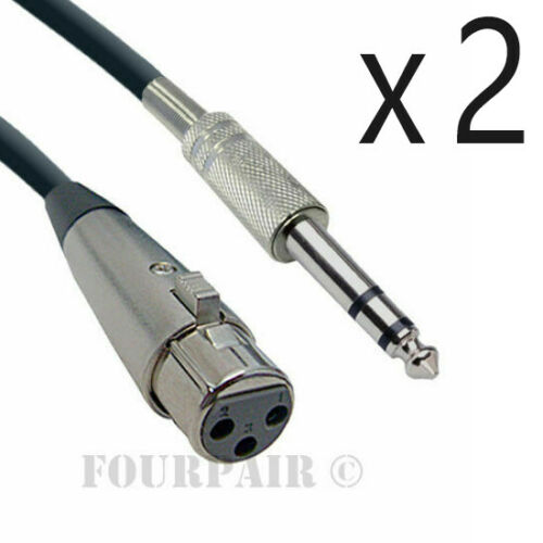 """50ft XLR 3-Pin Female to 1//4/"""" Stereo TRS Shielded Microphone Mic Cable 2 Pack"""