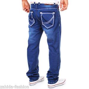 ZAHIDA-Uomo-Jeans-Fit-Pantaloni-Spessore-Cuciture-Cuciture-Clubwear-Blu-Vintage-j-4-8-152