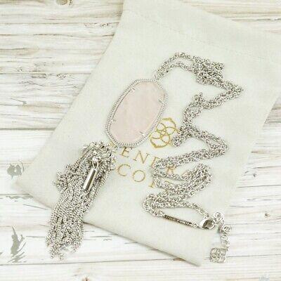 Nwot Kendra Scott Rayne Rose Quartz Tassel Pendant Necklace Silver Tone Ebay