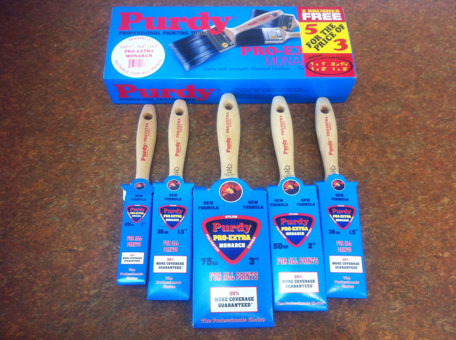 Purdy Pro Extra 5 Piece Synthetic Paint Brush Set 1x1 ,2x1.5 ,1x2 , 1x3