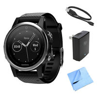 Garmin Fenix 5s Multisport 42mm Gps Watch W/ Black Band + Accessories Bundle on sale