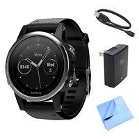 Garmin Fenix 5s Multisport 42mm Gps Watch W/ Black Band + Accessories Bundle on Sale