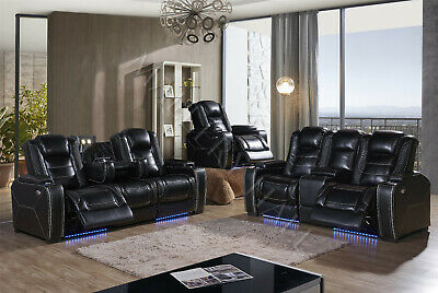 Black Leather Air Power Theater Sofa Loveseat Seating With Lighting Add  Recliner | eBay