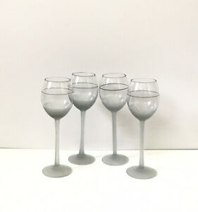 Set-of-4-Frosted-Gray-Cordial-Glasses-with-Black-Accent-Band-Holds-6oz