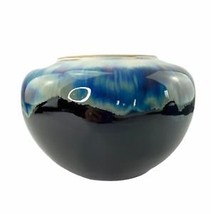 Studio Art Pottery Blue Drip Glaze Large Round Jar Vase Signed