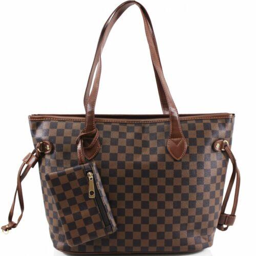 Ladies Women 3425 Shopper Check Print Handbag Shoulder Tote Cross Body Bag