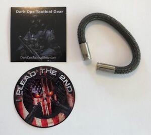 Bullet Casing Paracord Bracelet...Tru<wbr/>mp...2nd Amendment...Ni<wbr/>ckel 9mm..Olive Drab
