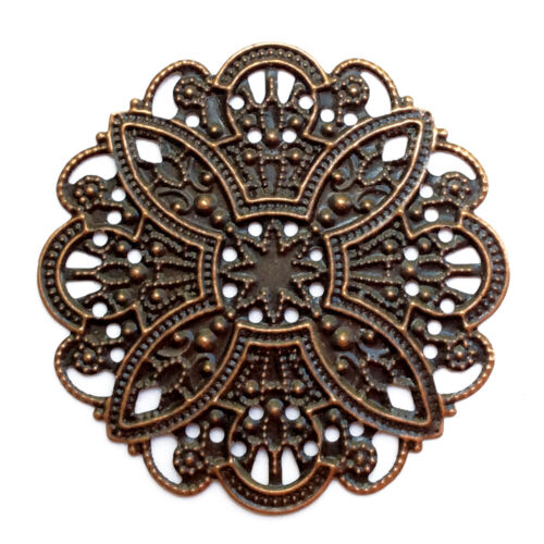 Antique Copper Plated Alloy 45mm Round Barqoue Filigree Beads Q20