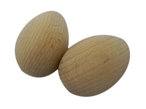 5 Wooden Eggs solid decoupage plain craft decorate beech wood 65x45mm J03
