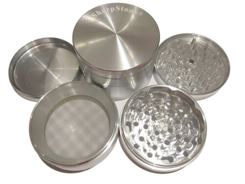 """Extras! SharpStone® 3.0/"""" Inch 4pc Hard Top Herb Tobacco X-Large Silver Grinder"""