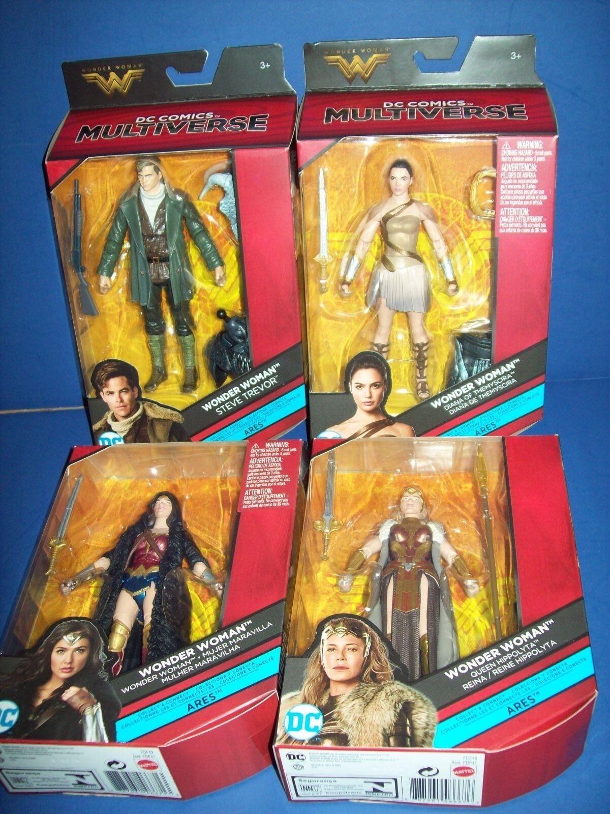 Wonder Woman 2017 4 Movie Figure Lot DC Comic Multiverse Build Ares BAF (NIB)