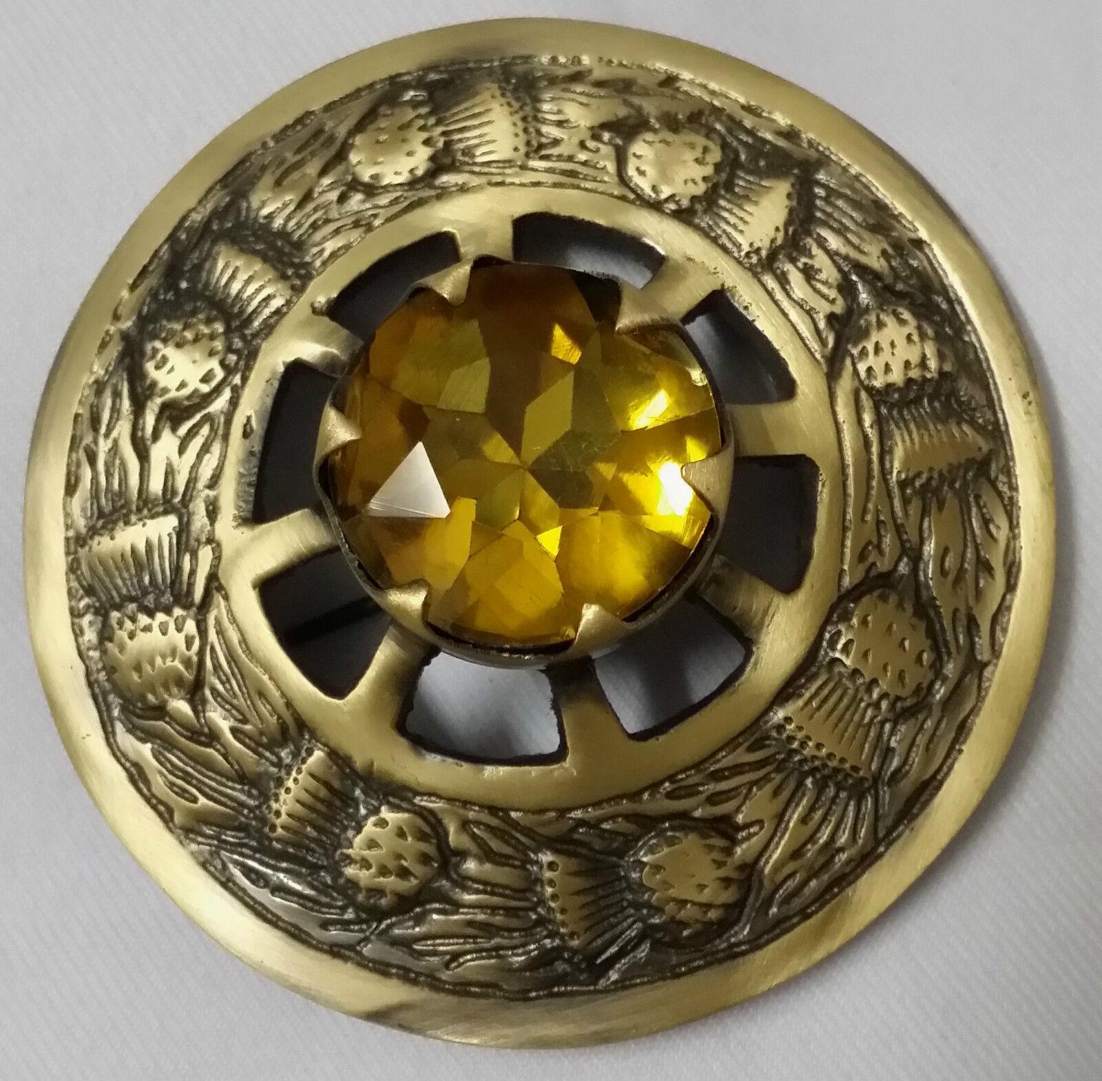 Men's Scottish Kilt Fly Plaid Brooches Brushed Yellow Stone Antique Finish 3
