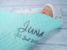 Zweilagige Decke Babydecke mit Namen Baumwolle 75 x 100 cm WAFFELPIQUE Kuschel