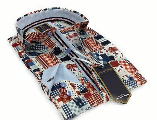 Mens Slim Shirt Oscar Banks Turkey 100/% Cotton Wrinkle Resistant 6203,01 Orange