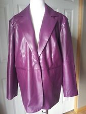 SUSAN GRAVER STYLE BOYSENBERRY ONE BUTTON LINED FAUX LEATHER JACKET  1X