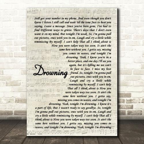 Drowning Vintage Script Song Lyric Print
