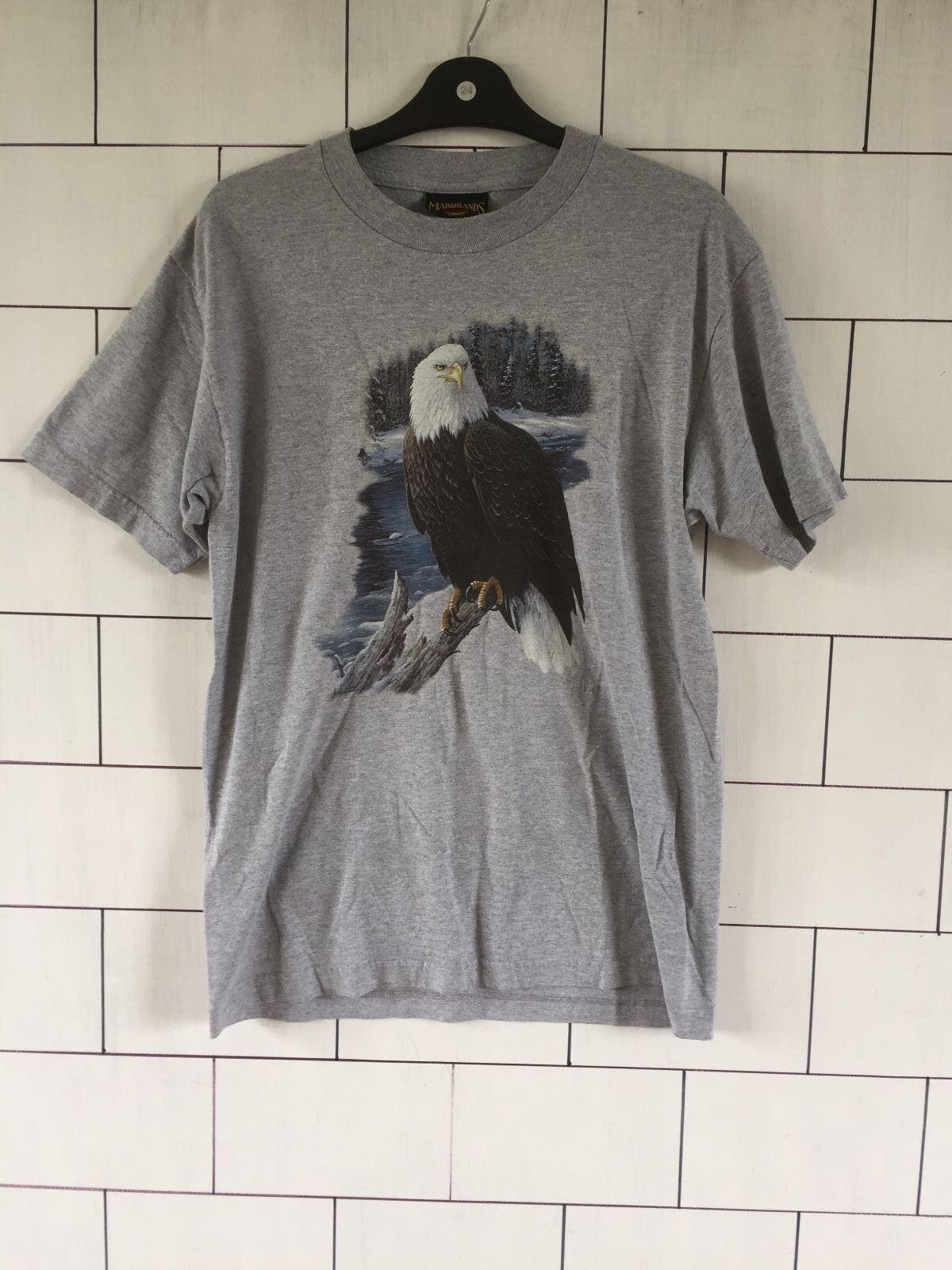 Urbain Rétro Vintage Gris courtes CANADA Eagle Festival à manches courtes Gris T shirt top UK M #2 031619