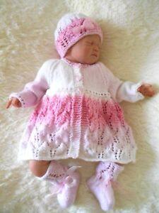 535b9abe372f DK baby knitting pattern to knit girls matinee cardigan hat booties ...