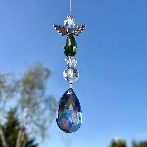 Nouveau Hanging Sun Catcher Guardian Angel ~ Vert ~ Memorial Maman Papa Nan Grandad-afficher le titre d`origine