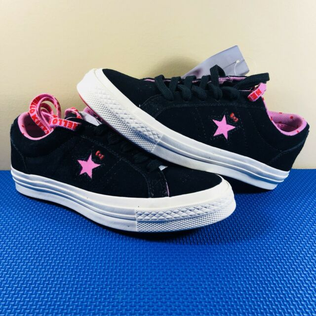 9938a3a0bfe Hello Kitty X Converse One Star Low Ox Black Pink Suede Women's Size 5 DS