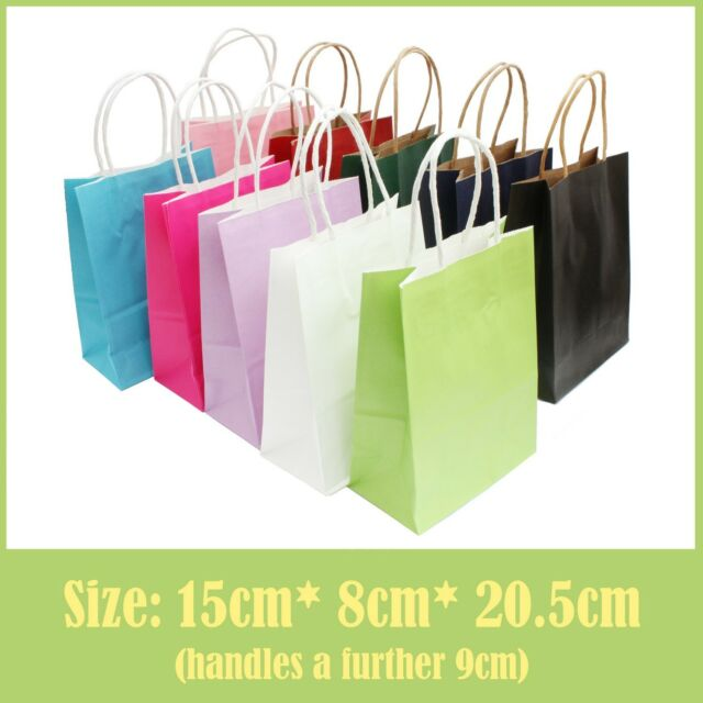 Coloured Paper Bags with handles for Wedding Gift, Hen Party, Birthday Loot Bag