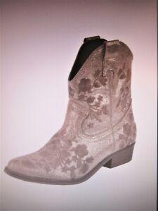 NEU Heine Stiefeletten Boots Westernstiefel taupe glanz Gold  Stickerei 40   153