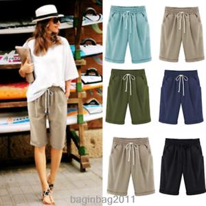 Plus-Size-Knee-Length-Pants-Women-Summer-Elastic-Waist-Lace-Up-Short-Pants