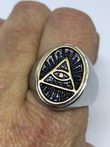 1980-039-s-Vintage-Stainless-Steel-Golden-Illuminati-Eye-Size-9-Men-039-s-Ring
