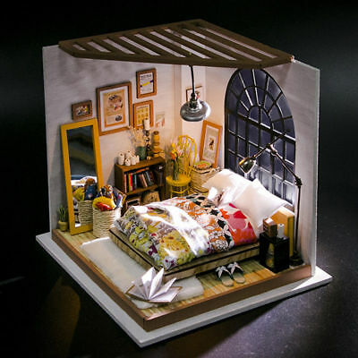 Rolife DIY Bedroom Miniature Dollhouse Furniture Model Building Kits Doll  House   eBay