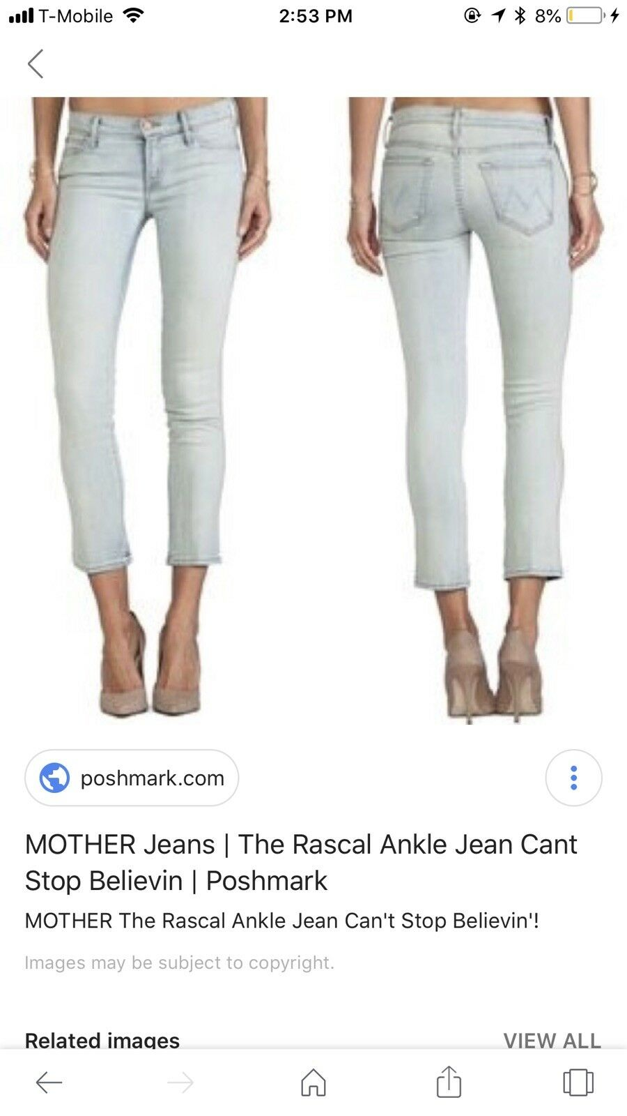 275 Mother The Looker Skinny Jeans-CANT STOP BELIEVIN New WT Size 32