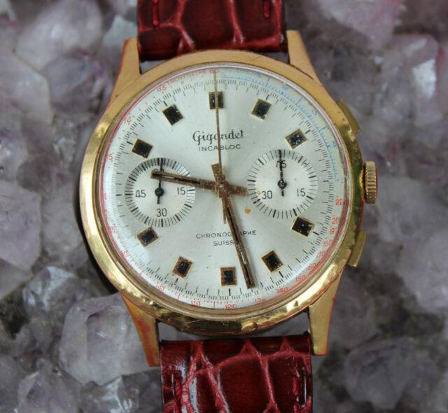 Silber//Orange Chronographen Zeigersatz Retro für ETA Valjoux 7733 NOS Style