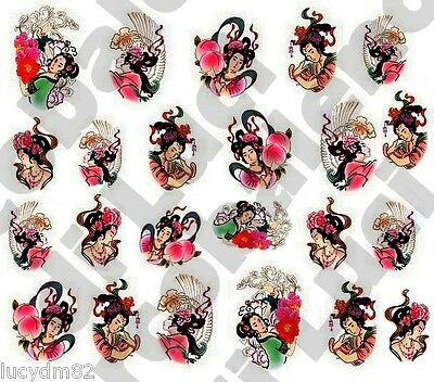 WATER DECALS GEISHA GIAPPONESINA JAPAN STICKERS UNGHIE NAIL ART ADESIVI DECAL