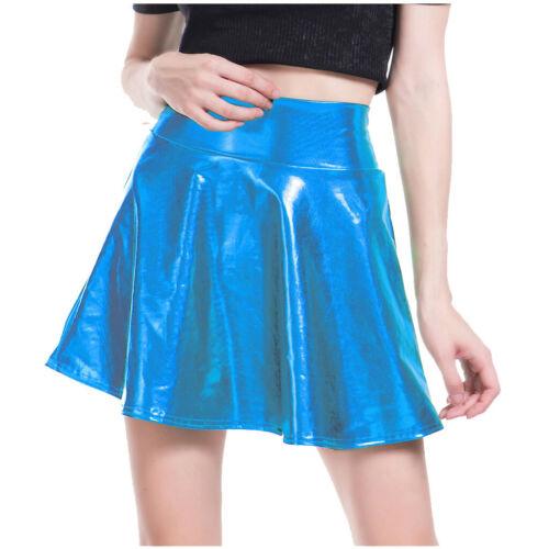 Women Girl Shiny Metallic Pu Flared Pleated Party Show A-Line Mini Skirt Dress