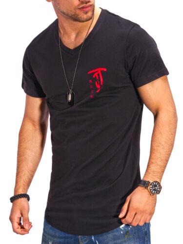 Jack /& Jones T-SHIRT V-Neck Print Shirt a Maniche Corte Camicia Tempo Libero Casual