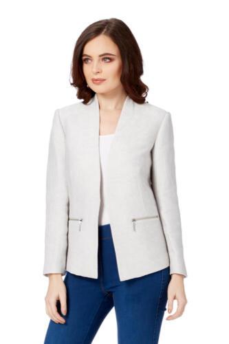 Women's Light Blazer Originals Office Formal Workwear Jacket Tailored Grey Roman zqvWgI5wz