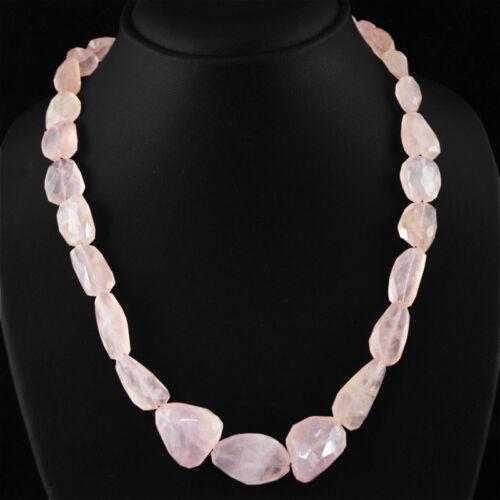 Réellement incroyable 370.00 Cts Naturel Facette Rose riche Quartz rose Perles Collier