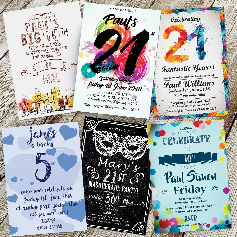 BIRTHDAY PARTY INVITATIONS ADULTS INVITES GIRL BOY PERSONALISED 18th 21st 30th