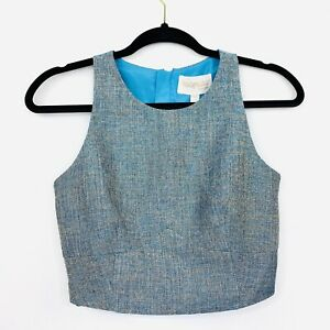 Keepsake-The-Label-Womens-Top-Cropped-Blue-Tweed-Size-S