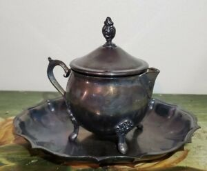 Vintage Leonard Silver Plate creamer and tray tarnished Silverplate