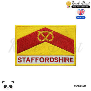 STAFFORDSHIRE-County-Flag-With-Name-Embroidered-Iron-On-Sew-On-Patch-Badge